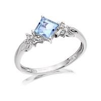 9ct White Gold Diamond And Aquamarine Ring - R0447-N
