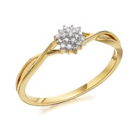 9ct Gold Mini Diamond Cluster Ring - R0904-L