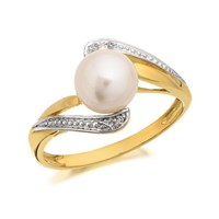 9ct Gold Freshwater Cultured Pearl And Diamond Ring - R0926-K