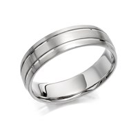 Palladium 500 Brushed Finish Banded Wedding Ring - 6mm - R1212-T