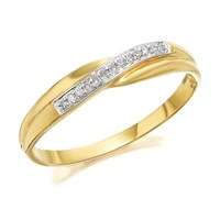 9ct Gold Diamond Crossover Band Ring - R1403-P