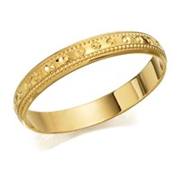 9ct Gold Beaded Edge Wedding Ring - 3mm - R1641-M