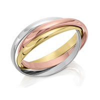 9ct Three Colour Gold Russian Wedding Ring - 2mm - R1754-L
