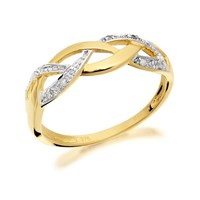 9ct Gold Two Colour Diamond Plait Ring - R2105-J