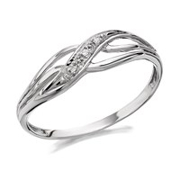 9ct White Gold Diamond Wave Ring - R2114-S