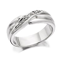 9ct White Gold Diamond Set Crossover Wedding Ring - R2324-J