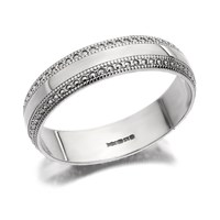 9ct White Gold Beaded Edge Wedding Ring - 5mm - R2393-U