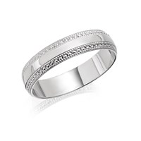 9ct White Gold Beaded Edge Wedding Ring - 4mm - R2394-M