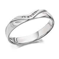 9ct White Gold Diamond Set Wedding Ring - 4mm - R2411-L