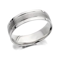 9ct White Gold Brushed Finish Wedding Ring - 6mm - R2412-R