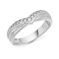 9ct White Gold Diamond Set Wishbone Wedding Ring - 4mm - R2430-N