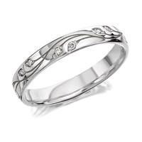 9ct White Gold Diamond Set Leaf Wedding Ring - 3mm - R2434-Q