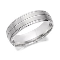 9ct White Gold Banded Wedding Ring - 6mm - R2442-S