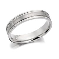 9ct White Gold Brushed Finished Wedding Ring - 4mm - R2462-J