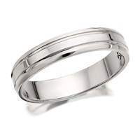 9ct White Gold Double Banded Wedding Ring - 4mm - R2474-L