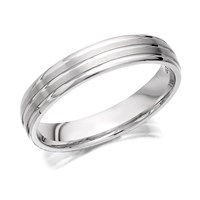 9ct White Gold Banded Wedding Ring - 4mm - R2492-R