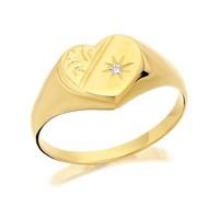9ct Gold Diamond Engraved Heart Signet Ring - R2514-Q