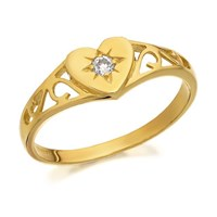 9ct Gold Cubic Zirconia Heart Signet Ring  R2983L