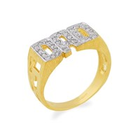 9ct Gold Cubic Zirconia Dad Ring - R3503-V
