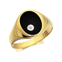 9ct Gold Onyx And Diamond Signet Ring - R3704-R