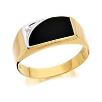 9ct Gold Gentleman's Diamond Set Onyx Signet Ring - R3705-W