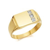 9ct Gold Gentlemen's Diamond Set Signet Ring - R3917-T