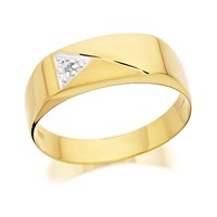 9ct Gold Gentleman's Diamond Set Signet Ring - R3919-R