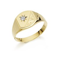 9ct Gold Gentleman's Diamond Signet Ring - R3969-V