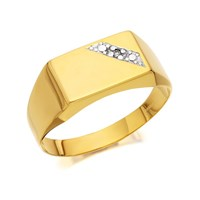 9ct Gold Diamond Gentleman's Signet Ring - R3978-T