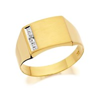 9ct Gold Gentleman's Diamond Set Signet Ring - R4006-S