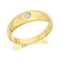 9ct Gold Gentleman's Diamond Set Gypsy Style Ring - R4018-W