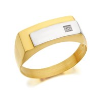 9ct Gold Two Colour Diamond Set Signet Ring - R4038-Y