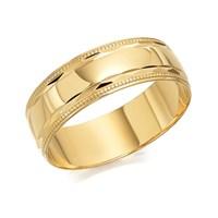 9ct Gold Beaded Edge Wedding Ring - 7mm - R4208-U