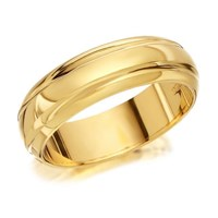 9ct Gold Banded Wedding Ring - 6mm - R4210-W