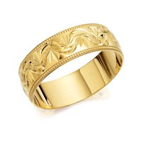 9ct Gold Beaded Garland Wedding Ring - 7mm - R4211-S