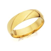 9ct Gold Beaded Stripe Wedding Ring - 6mm - R4224-V