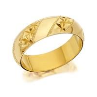9ct Gold Diamond Cut Stripe Wedding Ring - 6mm - R4229-S