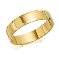 9ct Gold Flat Chamfered Edge Wedding Ring - 5mm - R4232-S