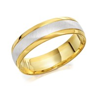 9ct Two Colour Gold Satin Finish Wedding Ring - 6mm - R4233-R