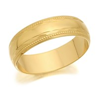 9ct Gold Beaded Edge Wedding Ring - 5mm - R4258-P
