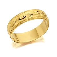 9ct Gold Beaded Garland Wedding Ring - 5mm - R4261-Q