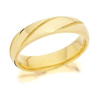 9ct Gold Beaded Stripes Wedding Ring - 4mm - R4274-J