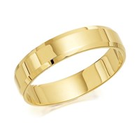 9ct Gold Flat Chamfered Edge Wedding Ring - 4mm - R4282-J