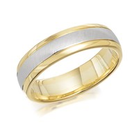 9ct Two Colour Gold Satin And Polished Wedding Ring - 5mm - R4283-M
