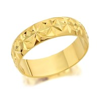 9ct Gold Diamond Cut Wedding Ring - 5mm - R4298-L