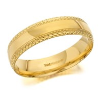 9ct Gold Beaded Edge Wedding Ring - 6mm - R4304-T