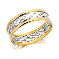 9ct Two Colour Gold Weave Wedding Ring - 7mm - R4329-S