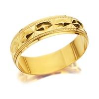 9ct Gold Diamond Cut Wedding Ring - 6mm - R4336-U