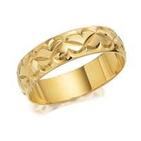 9ct Gold Diamond Cut Heart Wedding Ring - 6mm - R4344-S