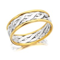 9ct Two Colour Gold Weave Wedding Ring - 6mm - R4379-J